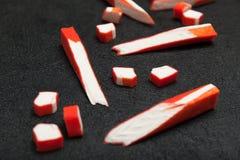 日本棍子surimi -从海鱼胶凝体的仿制螃蟹和龙虾肉 免版税图库摄影
