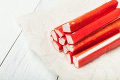 日本棍子surimi -仿制蟹肉 免版税库存照片