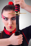 日本武术概念的妇女 免版税库存照片