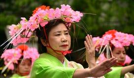 日本民间舞蹈 库存照片