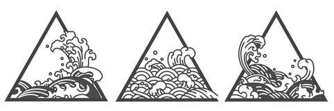 日本水波三角纹身花刺 向量例证
