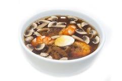 日本汤用虾和意大利面食 免版税库存图片