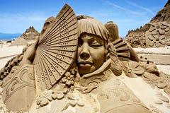 日本沙子雕塑妇女 免版税库存图片
