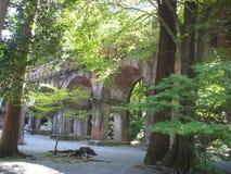 日本流失桥梁在京都 免版税图库摄影