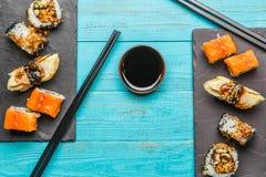 日本海鲜寿司,卷 免版税图库摄影