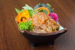 日本烹调 在背景的日本食物 库存照片