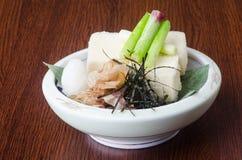 日本烹调 在背景的豆腐 免版税图库摄影