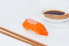 日本烹调 开胃三文鱼和米 图库摄影