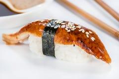 日本烹调 开胃海鳗之类和米 库存照片