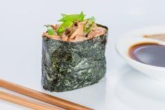 日本烹调 开胃Gunkan辣Kinoko用米,软糊状食物 库存照片