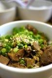 日本牛肉大蒜炒饭 库存图片