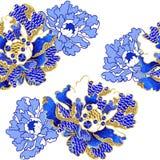 日本牡丹开花与衣服饰物之小金属片和小珠的刺绣 免版税库存图片