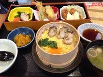 日本牡蛎午餐 免版税库存照片