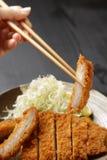 日本猪肉炸肉排Tonkatsu 库存图片