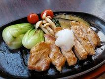 日本猪肉牛排食谱 库存图片