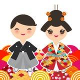 日本男孩和女孩全国服装的 和服,传统礼服的动画片孩子 日本佐仓波浪圈子样式桔子 库存照片