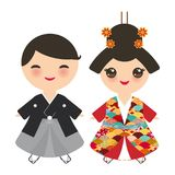 日本男孩和女孩全国服装的 和服,传统礼服的动画片孩子 日本佐仓波浪圈子样式红色bur 免版税库存照片