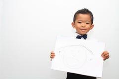 日本男孩和他的父亲的画象 库存照片