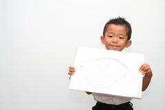 日本男孩和他的父亲的画象 免版税库存照片
