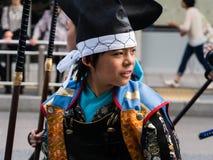 日本男孩装饰了作为武士战士 库存图片