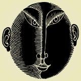 日本男性顶头原始木刻 免版税图库摄影