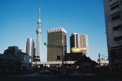 日本的东京晴空塔地标 库存图片