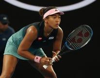 日本的全垒打冠军娜奥美大阪行动的在她的在2019年澳网的半决赛期间在墨尔本公园 库存照片