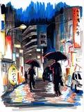 日本的夜街道 图库摄影