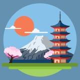 日本的平的设计风景 库存例证