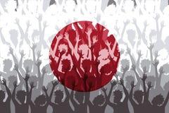 日本的旗子在支持的爱好者的 免版税库存照片