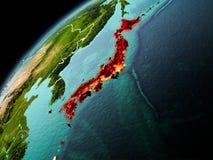 日本的晚上视图地球上的 库存照片