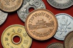日本的硬币 的菲尼斯霍尔Byodo在寺庙 免版税图库摄影