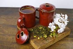 日本的茶杯用绿茶和佐仓花 免版税图库摄影