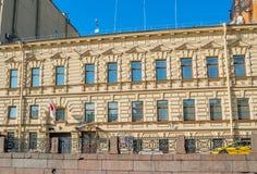 日本的总领事馆在圣彼德堡,俄罗斯-在Moika河堤防的大厦 免版税库存图片