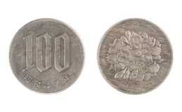 日本硬币, 100日元的面额 免版税图库摄影