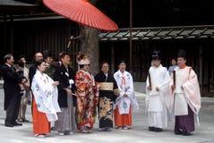 日本神道的信徒的东京婚礼 图库摄影