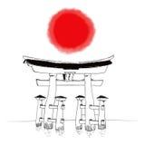 日本神道的信徒的门 免版税库存照片