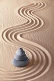 日本禅宗庭院沙子和石头 图库摄影