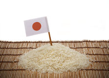 日本米和日本旗子 库存照片