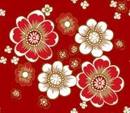 日本红色植物样式 库存图片