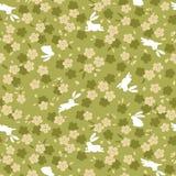 日本绿色樱花和兔子样式 皇族释放例证
