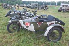 日本老军事Rikuo摩托车类型97 (哈利戴维森的拷贝)在第3次国际会议上  免版税库存图片