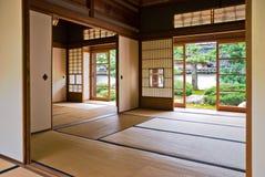 日本老空间扯窗tatami 免版税库存照片