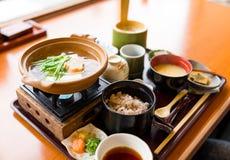 日本膳食,豆腐烹调 免版税库存图片