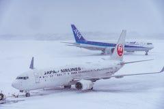 日本航空公司准备好对飞行 免版税库存照片