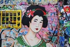日本艺妓街道画 免版税库存图片