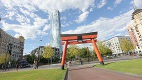 日本艺术和Japonisme torii在毕尔巴鄂、好运和繁荣标志成拱形 影视素材
