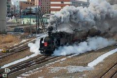 日本蒸汽机车在冬天 免版税库存照片