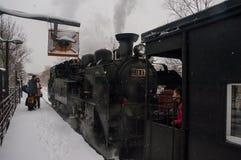 日本蒸汽机车在冬天 免版税库存图片