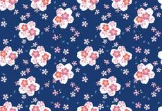 日本蓝色樱花无缝的样式 向量例证